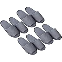 Artibetter 4 Pairs of Disposable Slippers, Spa Slippers with Travel Bags for Spa, Party Guest, Hotel and Travel Grey (Open Toes)