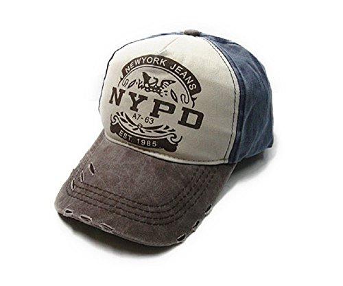 In Cristallo(インクリスターロ) NYPD ヴィンテージ風 ベースボールキャップ ロゴプリント 野球帽 ダメージ・汚れ加工済み アメリカン カジュアル 帽子 ファッション小物・雑貨 メンズ 多バリエーション (NYPD ネイビー×ブラウン)