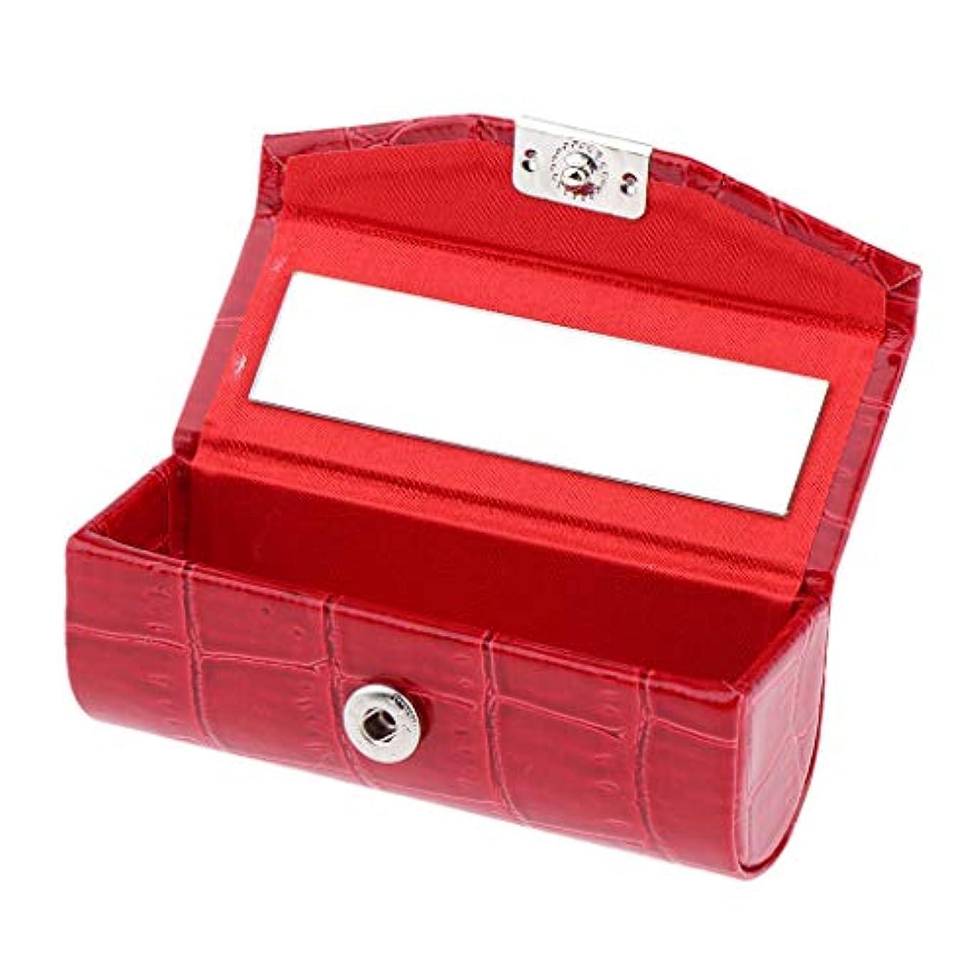 地上の固執ハーフF Fityle リップスティックケース 口紅 ホルダー レザー 財布 ミラー 収納ボックス 多色選べ - 赤