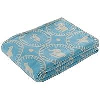 東京西川 毛布 シングル マタノアツコ オリエンタル絵皿柄 綿100% ふわふわ ブルー FQ08101014B