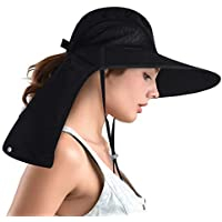 Camptrace Safari Sun Hats for Women Wide Brim Fishing Hat with Large Neck Flap Ponytail Sun Protection UPF Summer Cooling Bucket hat Packable Sunhat for Hunting Hiking Camping