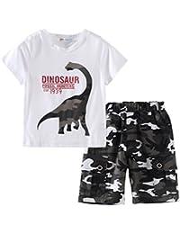 LittleSpring夏 ボーイズ 男の子 恐竜 半袖Tシャツ&迷彩柄ショートパンツ ジャージ上下