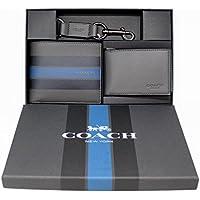 COACH 3in1 ヴァーシティ ギフトボックスウォレット スムース カーフ レザー ウィズ ヴァーシティー ストライプ★ギフトボックス入り・IDケース・キーチェーン付き★プレゼントに最適です!