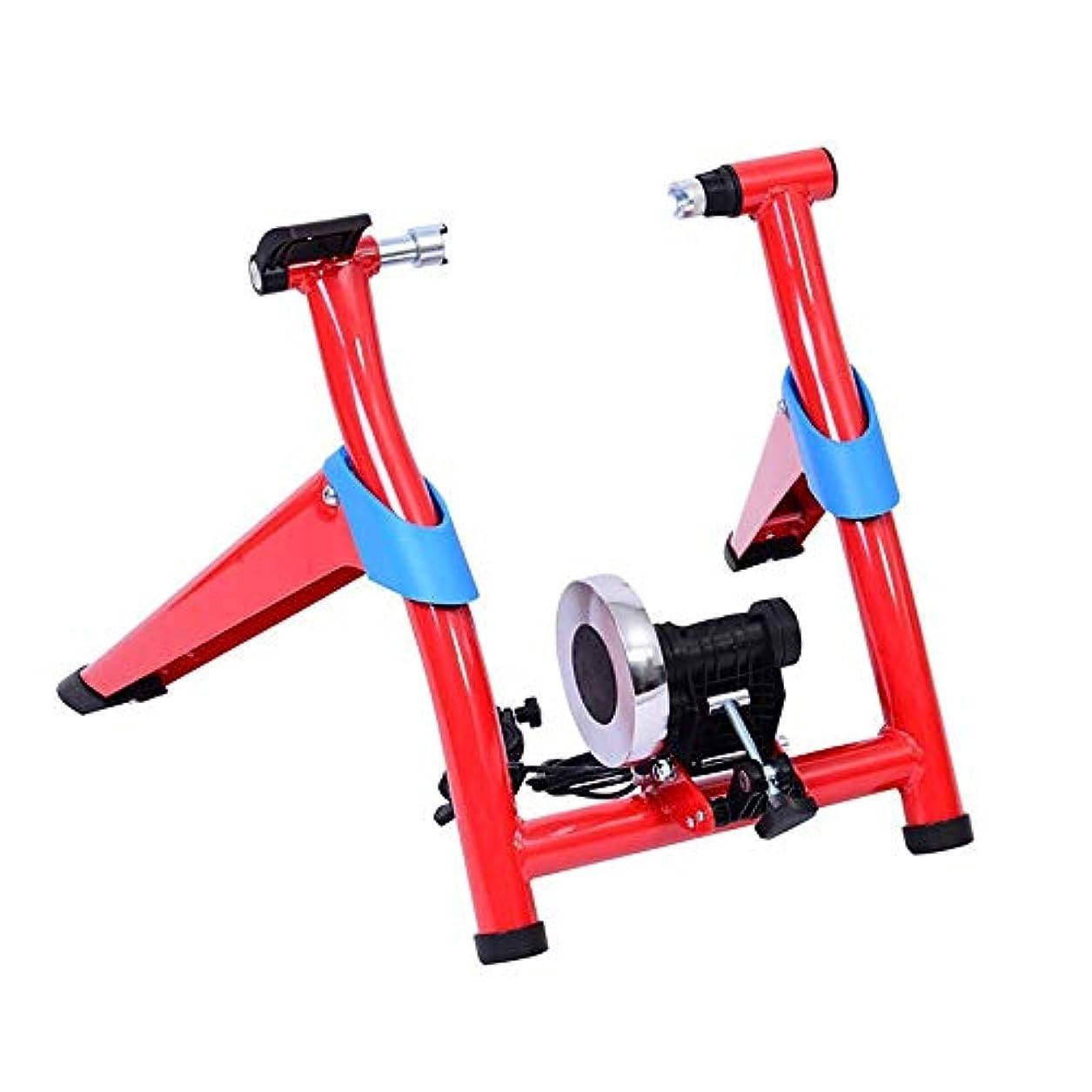確実磁気ビーム自転車トレーニング サイクリングロードマウンテン折りたたみ自転車ラインコントロール乗馬プラットフォーム磁気抵抗トレーニングプラットフォーム駐車場のラック自転車用品 軽量 コンパクト トレーニング用 (色 : 赤, サイズ : ワンサイズ)