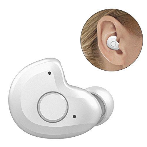 世界最軽量ヘッドセットわずか3.8g Bluetooth ヘッドセット V4.1 Bluetooth ワイヤレスヘッドセット 片耳 ブルートゥース ヘッドセット Bluetooth ワイヤレスイヤホン 防汗防水 マイク内蔵 軽量小型 モノラル 高音質 ノイズキャンセリング搭載 iPhone Android などのスマートフォンに対応 by AngLink (ホワイト)