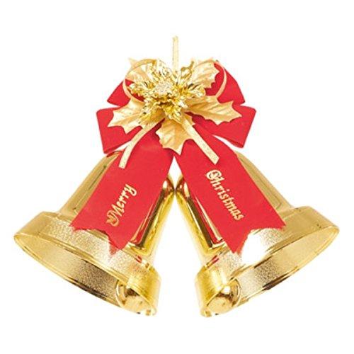 【クリスマスオーナメント・ベル・リボン】メリークリスマスリボンダブルベル(S)(ゴールド)