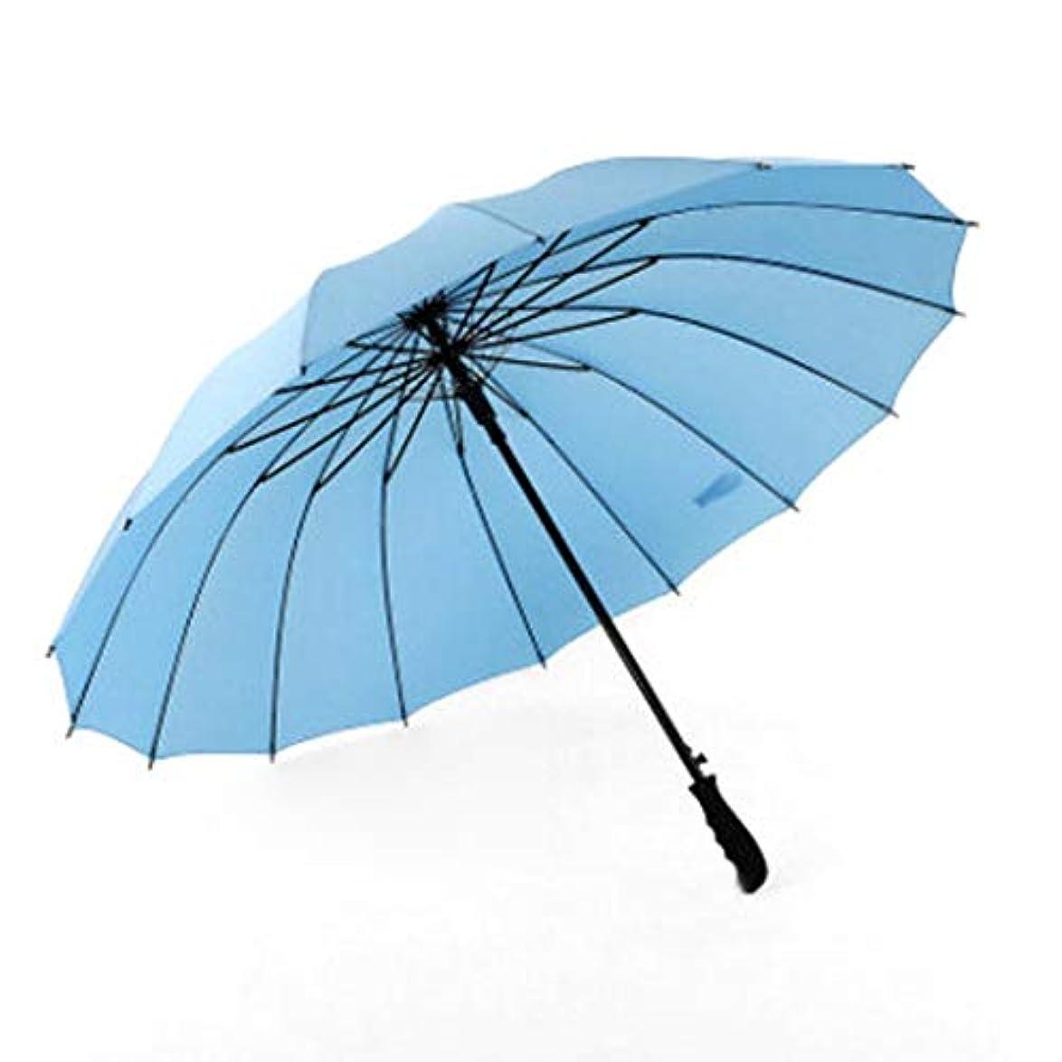 ねばねばドラムじゃないJOYS CLOTHING 傘ダブル自動ゴルフ傘屋外の日よけストレート16 (Color : Sky blue)