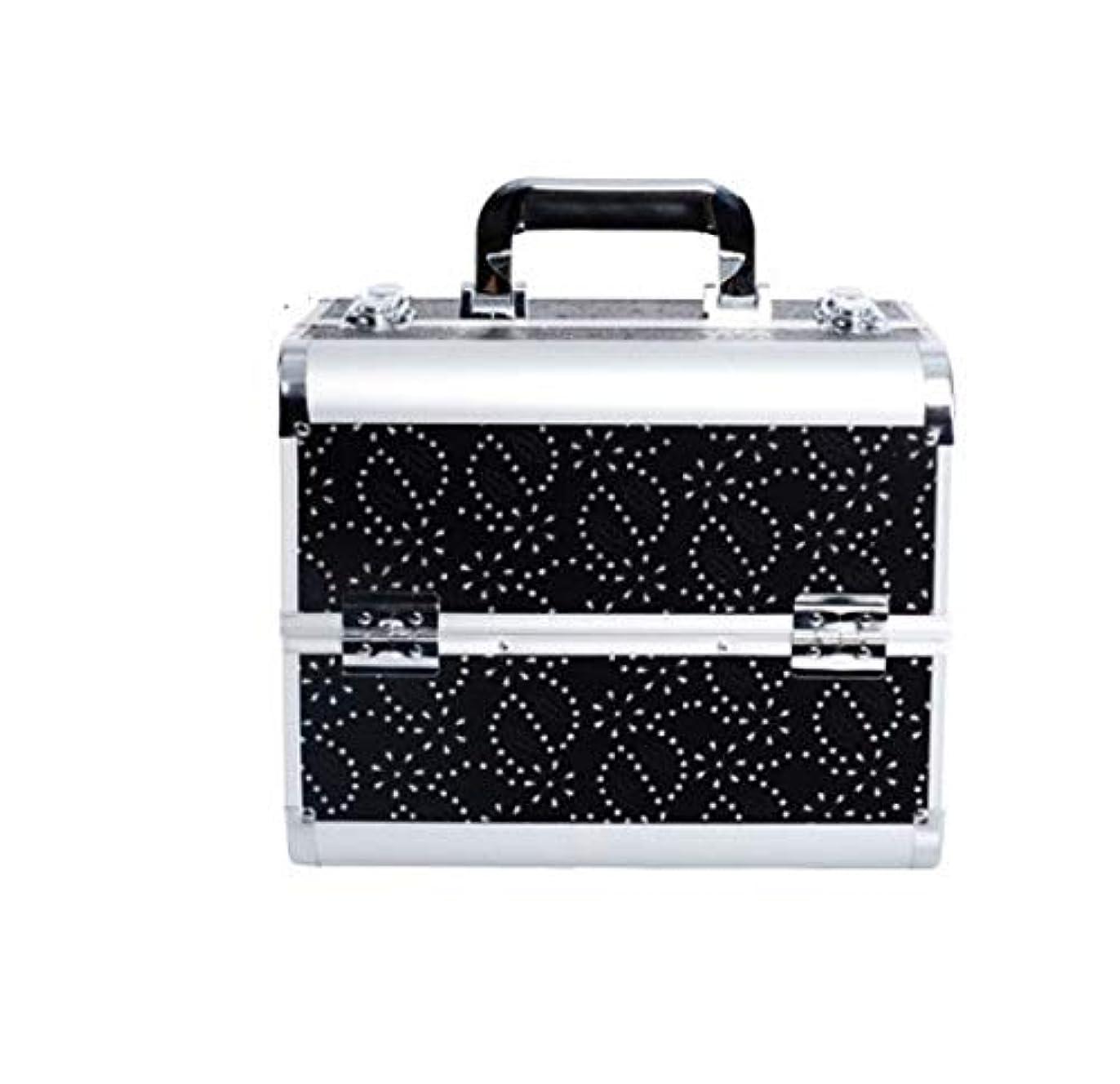 クリエイティブ貫入バンガロー化粧品ケース、ブラック多層化粧品袋、ポータブル旅行多機能化粧品ケース、美容ネイルジュエリー収納ボックス