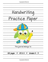 Handwriting Practice Paper (Boy Owl Notebook with Dotted Lined Sheets for K-3 Students 100 Pages)