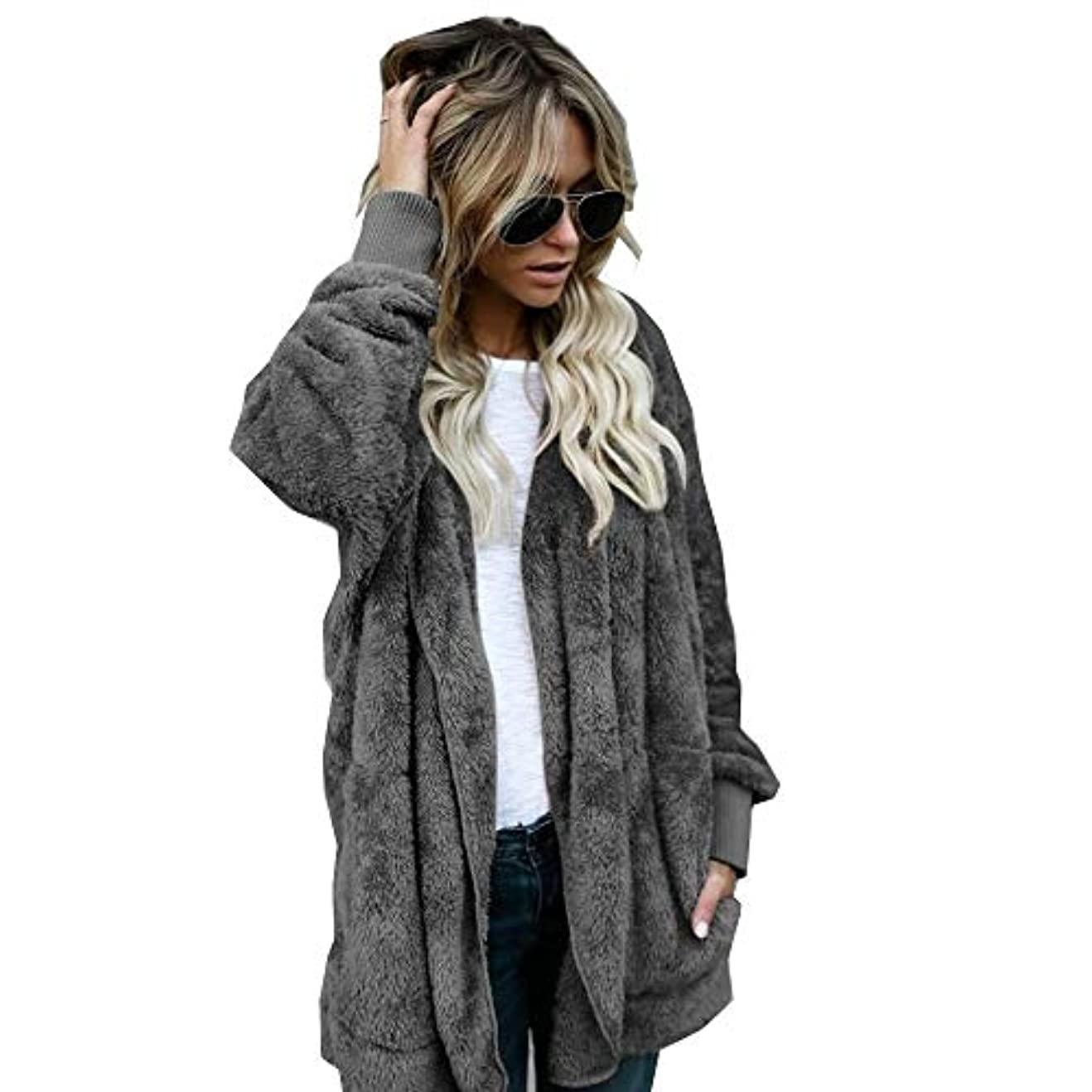 快い知り合いライバルMIFAN 長袖パーカー、冬のコート、女性のコート、女性の緩い厚く暖かいフェイクファーフード付きカーディガン