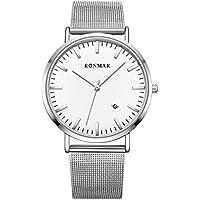 Ronmar 腕時計 超薄型 軽量 亜鉛合金ケース ステンレス製のブレスレット 30M防水 日付表示 男女兼用 シルバー
