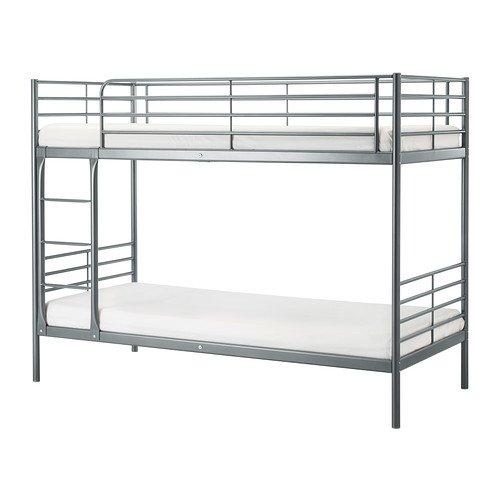 SVARTA 2段ベッドフレーム シルバーカラー