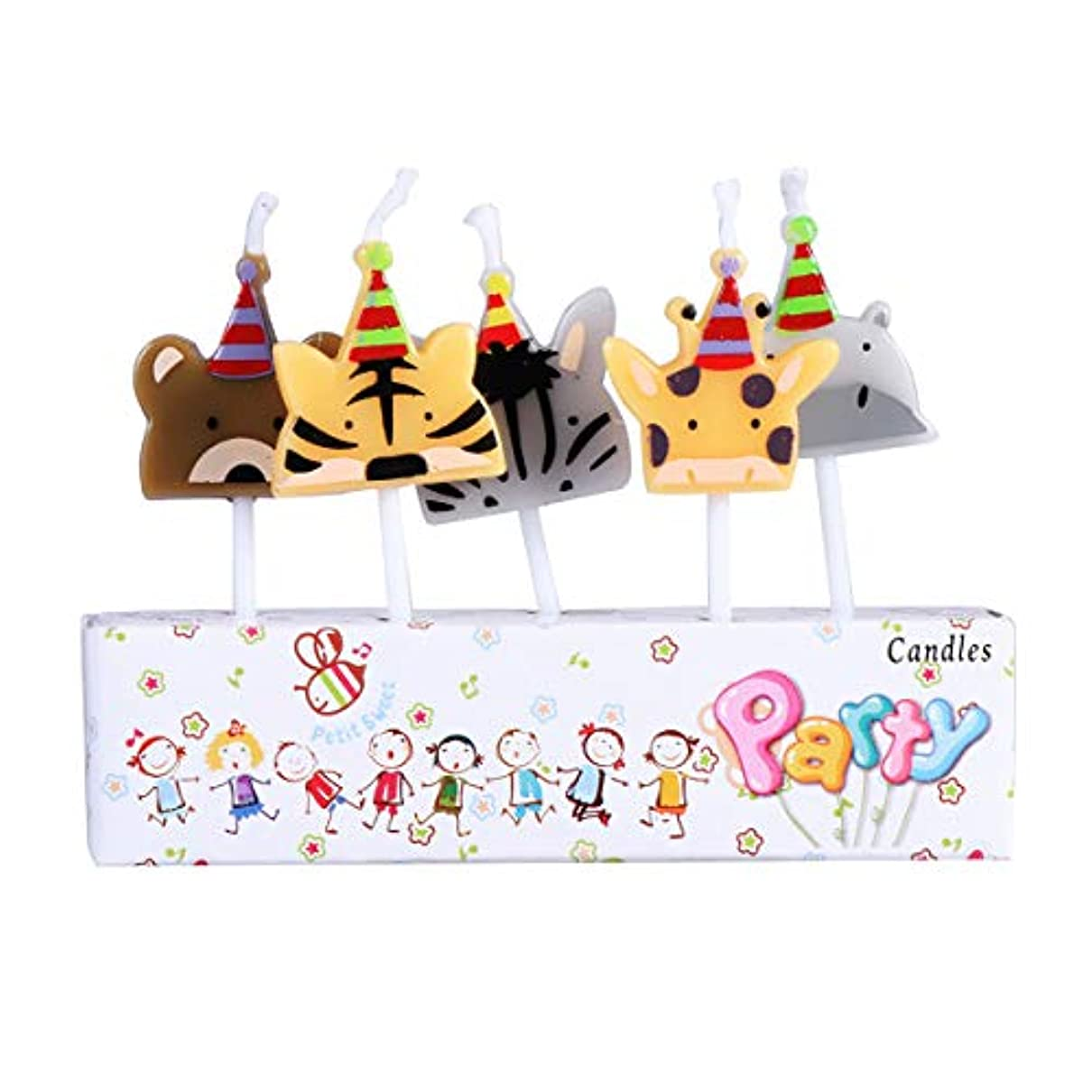 野望夜の動物園メンテナンスBESTOYARD 子供の誕生日の装飾のための5本の動物の誕生日ケーキの蝋燭