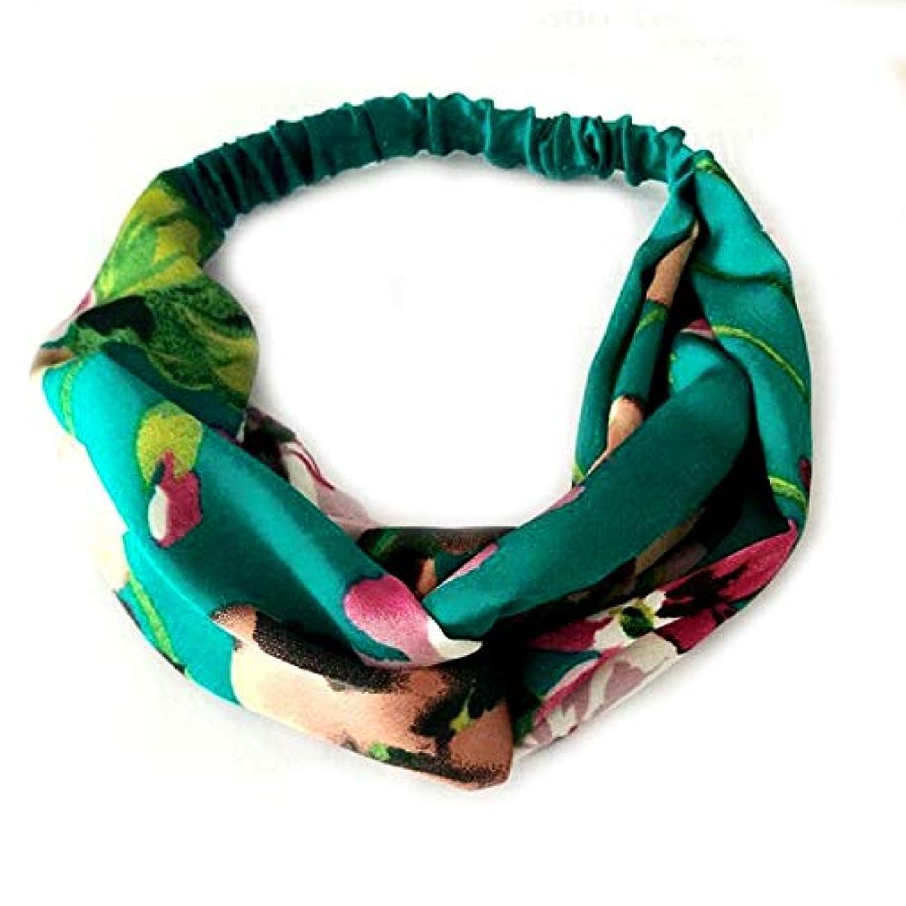 愚かな悲観的印象的Hairpinheair YHM女性サマーボヘミアンヘアバンドレトロクロスバンダナヘアアクセサリー(レッド) (色 : Green)