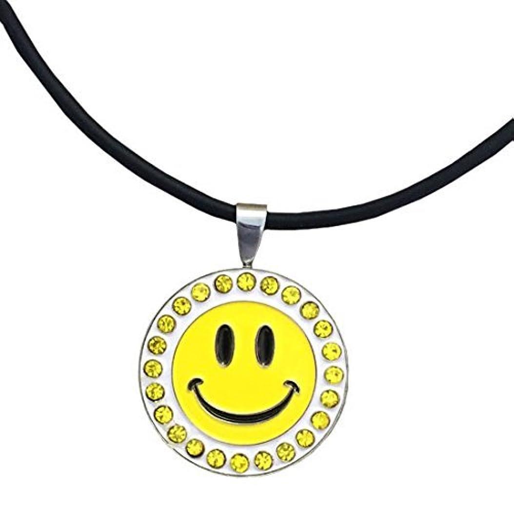 る例エッセイGiggleゴルフBling Happy Face磁気ボールマーカーネックレス