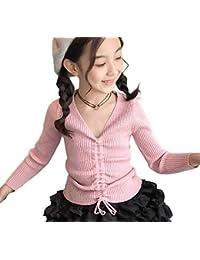 [Lieto Rana] 子供服 ガールズ フロントギャザー ひも付き Vネック リブ カットソー 4~13歳用