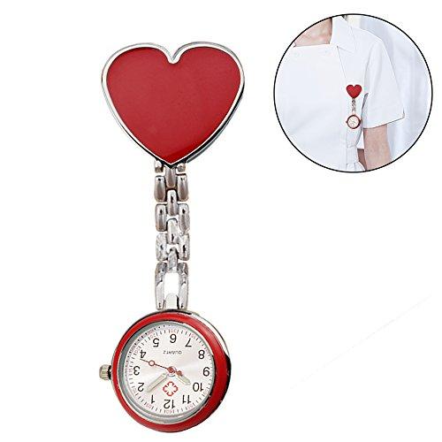 懐中時計 ナースウォッチ 逆文字盤 かわいい時計 時計 ハート柄 レッド