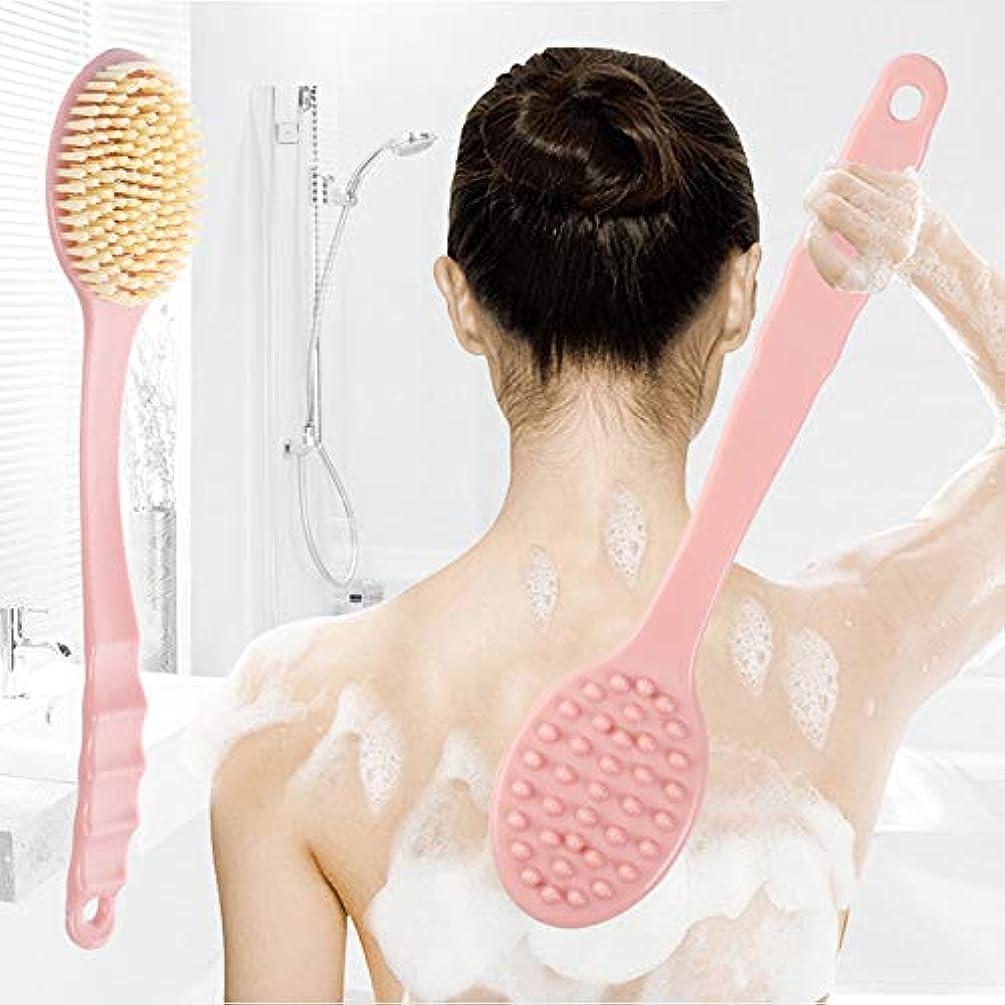 コマース品魅惑的なボディブラシロング 風呂ブラシ背中 マッサー長柄滑り止め付きジリンパマッサージ角質取りお風呂 ブラシ血行促進 美肌背中ブラシボディーブラシバスグッズ (ピンク)