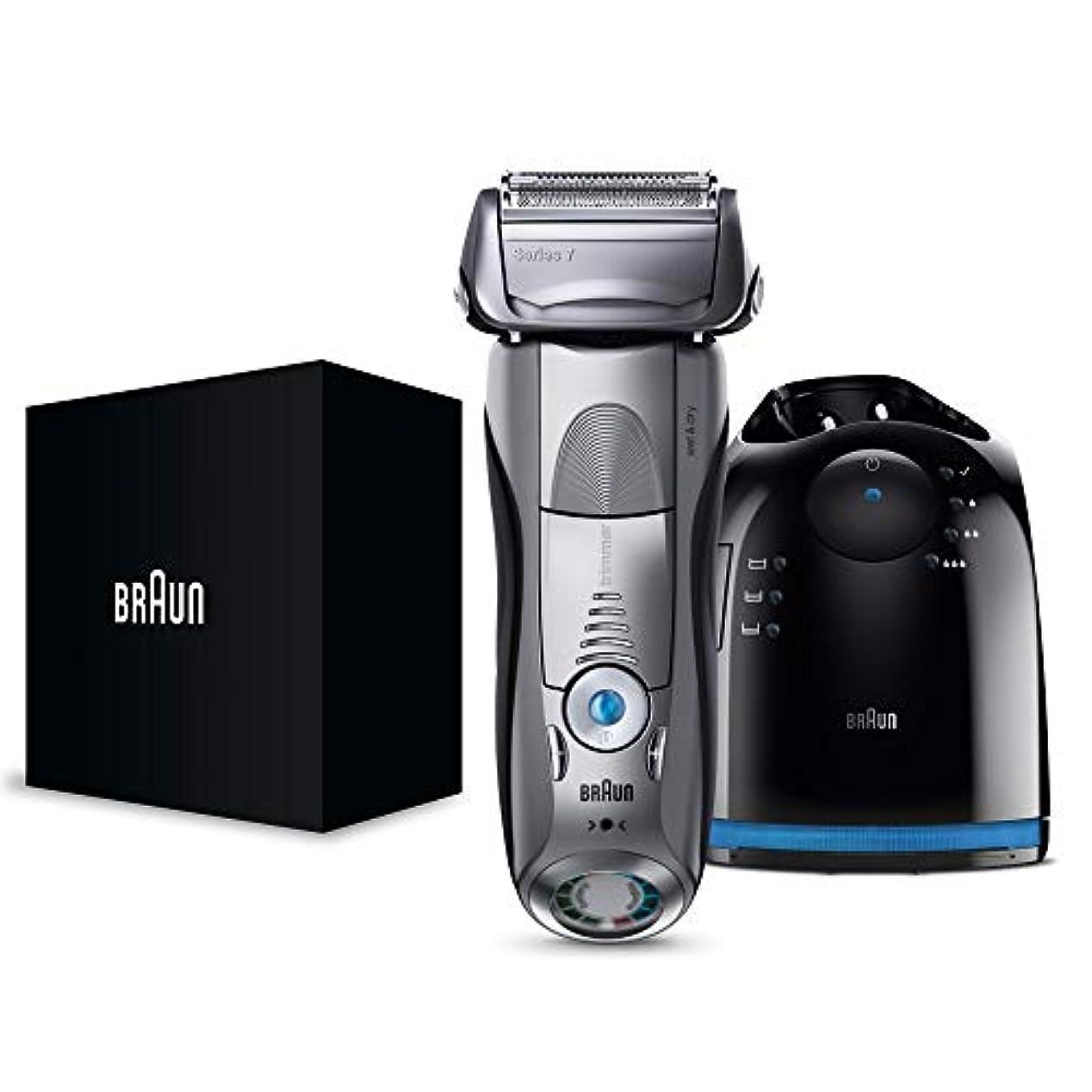 ドリンクオープニング促すブラウン メンズ電気シェーバー シリーズ7 7897cc 4カットシステム 洗浄機付 水洗い/お風呂剃り可