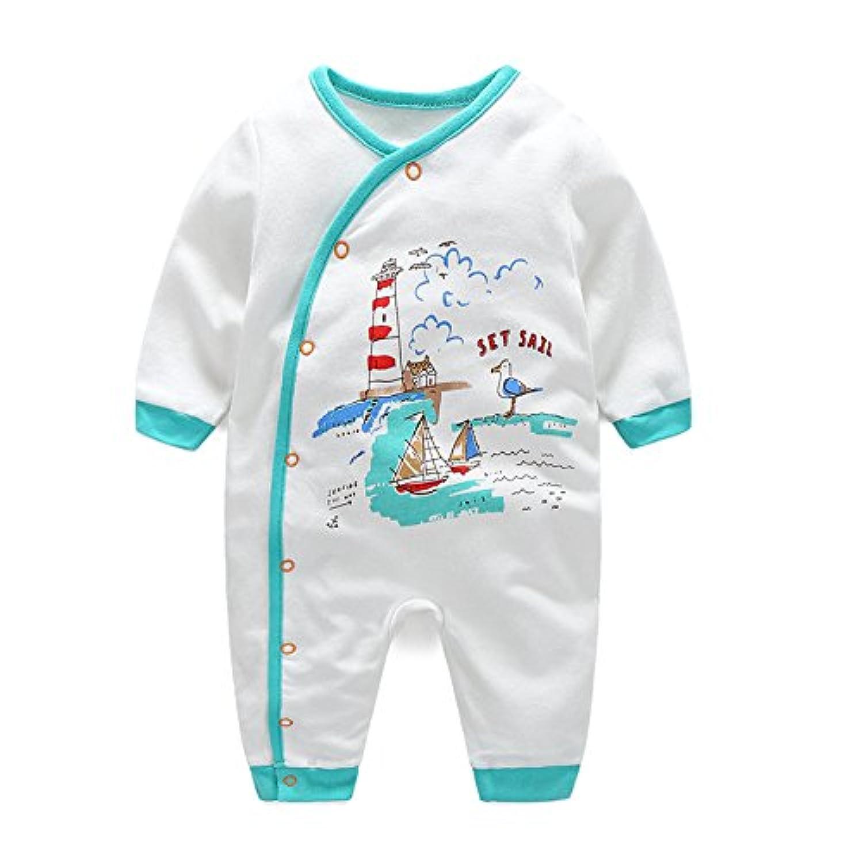 エルフ ベビー(Fairy Baby)新生児服 カバーオールロンパース 前開き 長袖 四季兼用 出産祝い 可愛い (12M, 船柄)