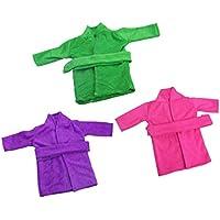 Dovewill 3個セット 18インチ アメリカ女の子人形適用  素敵な パジャマ 布製 ナイトローブ バスローブ  全3色