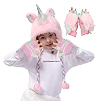 Unicorn Faux Fur Hoodie Hats for Girls with Winter Gloves as Birthday Cosplay