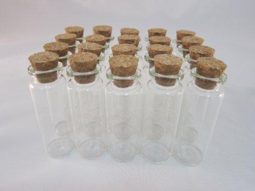 Tick Nick コルク付き ガラス ミニチュア ボトル 20本セット / コルク 瓶 コルク ビン ビーズ アクセサリー パーツ (全長:60mm  直径:20mm)