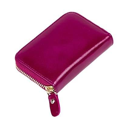 SORASION 本革 カードケース ラウンドファスナー メンズ レディース 兼用 ジャバラ 全6色 牛革 オイルド レザー 専用パッケージ セット (パープル)