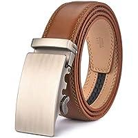 """Men's Belt,Wetoper Slide Ratchet Belt for Men with Genuine Leather 1 3/8,Trim to Fit (Up to 44"""" waist adjustable, Brown4)"""