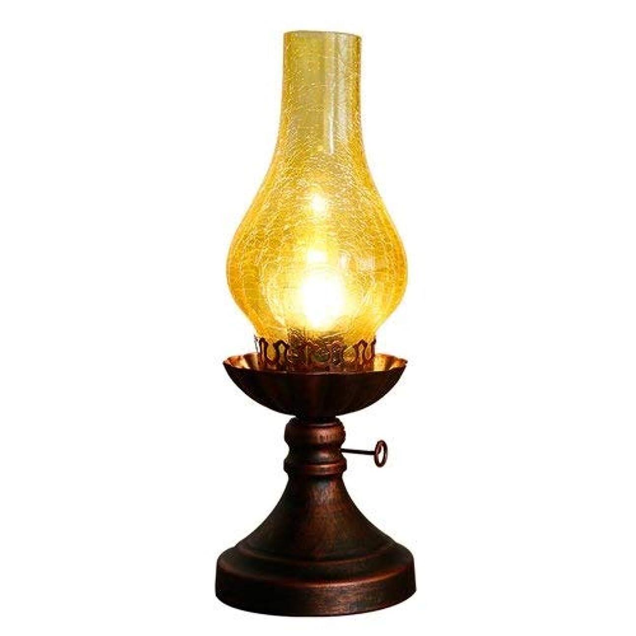 ルビー統合するオゾン灯油ランプ古いオイルランプヴィンテージテーブルランプクラシックシェイプノスタルジックオイルランプアイアンでガラスランプシェードスタディ読書灯レストランのデスクライト (Color : Warm light)