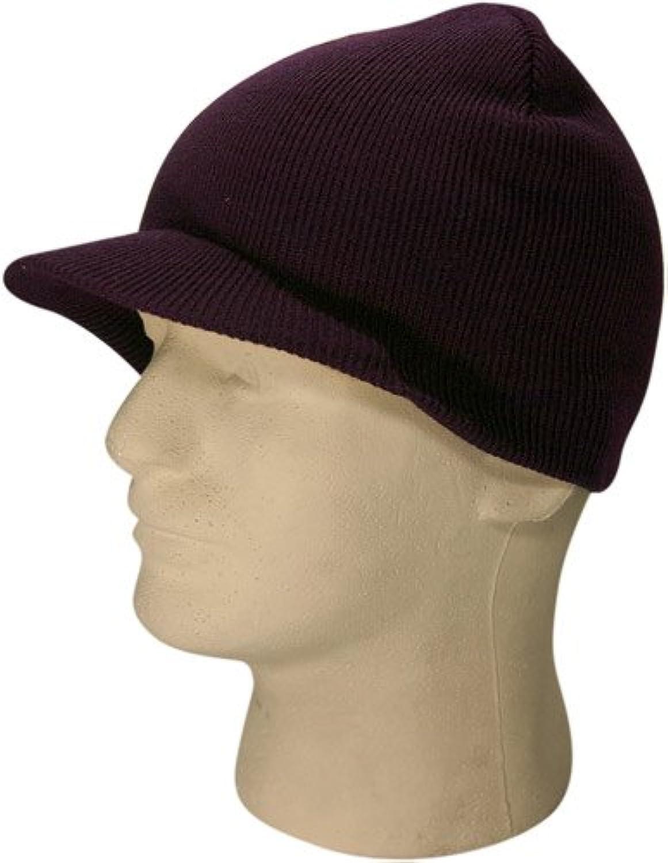 ニットバイザービーニースキーキャップ帽子inパープル