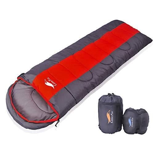 寝袋 封筒型 軽量 アウトドア 登山 車中泊 丸洗い 最低使用温度-9度 収納袋付き (赤 1kg)