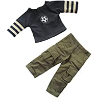 Boy Doll Clothes Set, Dark Blue Footable Doll T-shirt and Army Green Sport Pants For 18inches Dolls, Pack of 2 pcs