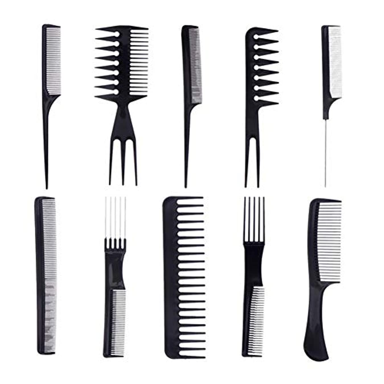 深めるエキスどちらかプロの櫛静電気防止コームのヘアーサロンビューティーサロンスタイリングツールや髪のすべてのタイプ(黒)の10 /セット