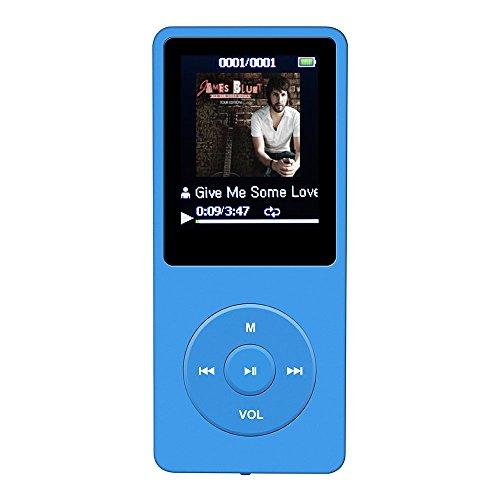 AGPtEK A02 音楽再生なら最大70時間のロスレスサウンドMP3プレーヤー(容量8GB マイクロSDカード64GB) (ブルー)