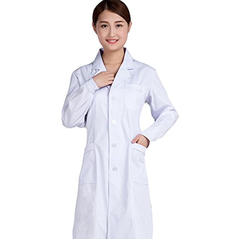 タイプライター上アダルト白衣 実験衣 医師実験用 診察衣 長袖 ホワイトポケット付き 制菌 女性ドクター