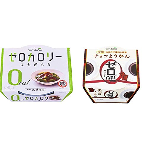 【セット買い】遠藤製餡 Nゼロカロリーよもぎもち 108g×6個 & 0カロリーチョコようかん 90g×6個