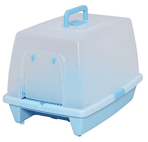 アイリスオーヤマ 砂落としマット付脱臭ネコトイレ ミルキーブルー SN-520+ガッチリ固まってトイレに流せる猫砂 7L