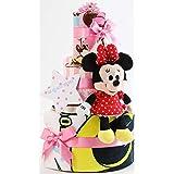 オムツケーキ 出産祝い ディズニー disney 身長計付きバスタオル 名入れ刺繍 3段 おむつケーキ ぬいぐるみ (パンパーステープタイプMサイズ, 女の子向け(ピンク系))