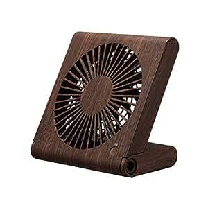 ドウシシャ 卓上扇風機 スリムコンパクトファン 3電源(AC USB 乾電池) 風量3段階 静音 ピエリア ダークウッド FSU-107U DWD
