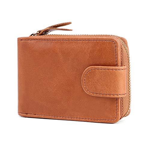 Emostya 財布 クレジットカードケース 牛革 スキミング防止 ファスナー じゃばら メンズ IDケース 定期入れ 名刺入れ ブラウン