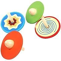 SONONIA 玩具 伝統的 カラフルな木製コマ 五色なげコマ おもちゃ ギフト