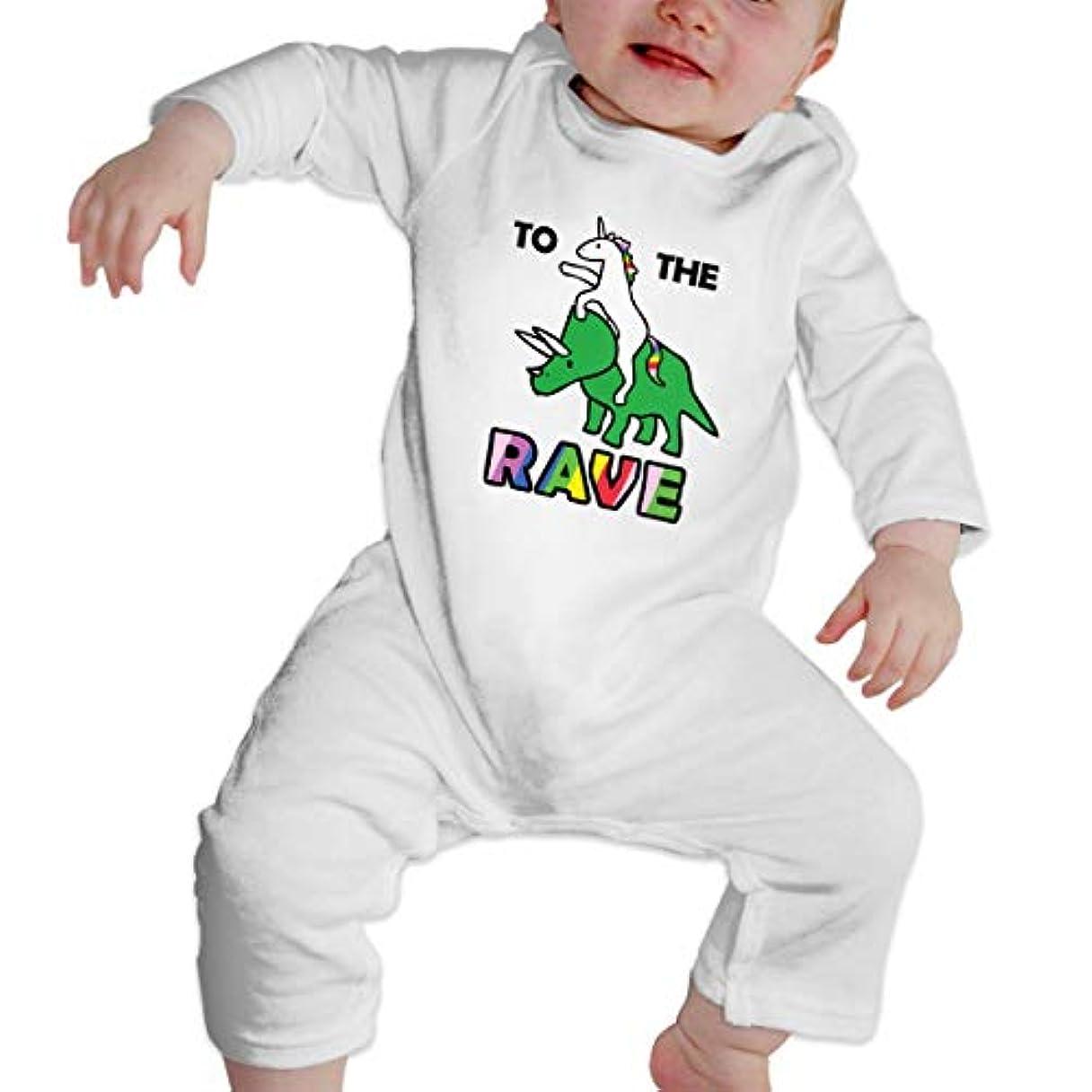 ホールドオールスズメバチ蒸し器To The Rave! (Unicorn Riding Triceratops) 女の赤ちゃん女の赤ちゃん長袖ジャンプスーツコットンプリントラウンドネックソフト通気性ジャンプスーツ底入れ