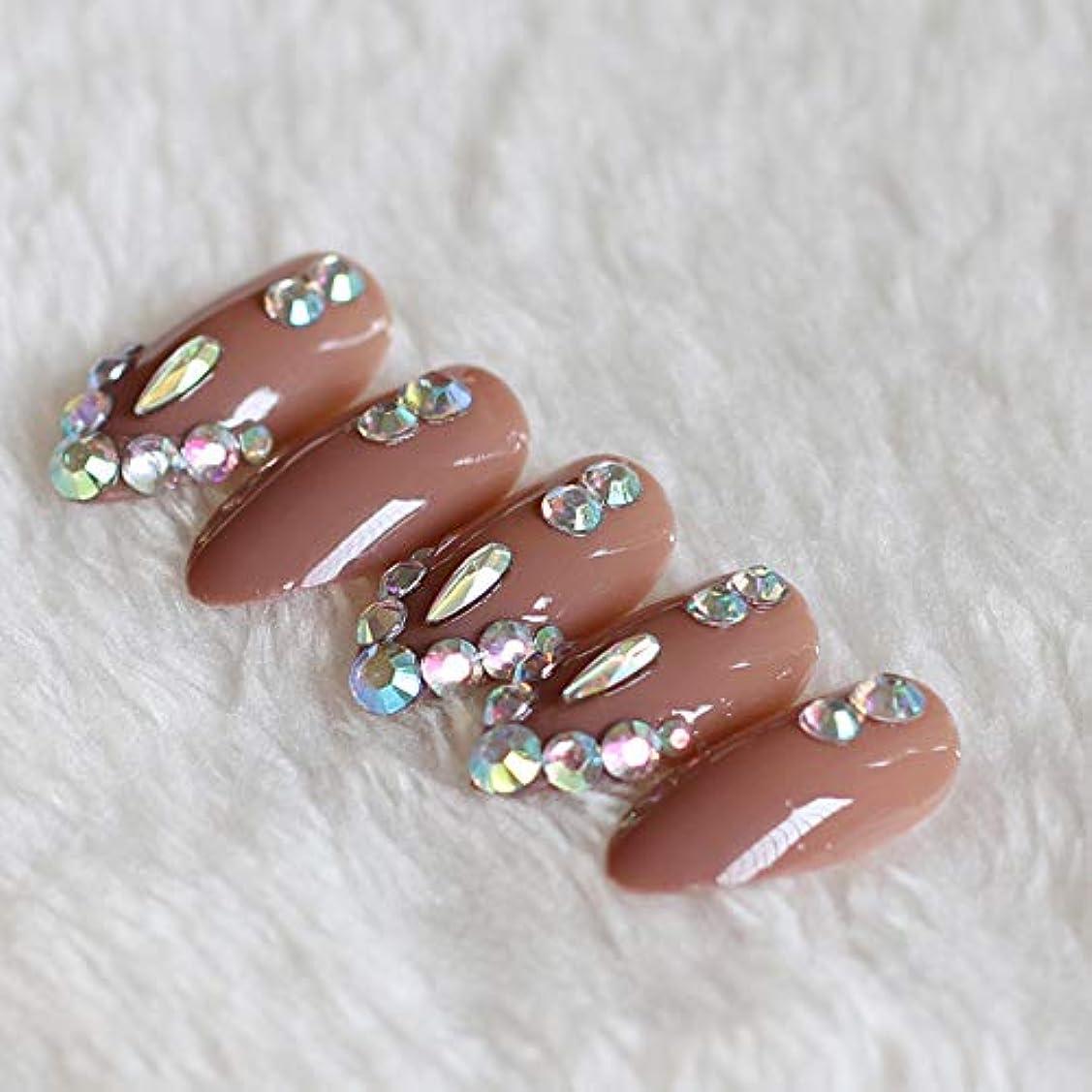 主観的南西切り刻むXUTXZKA 偽爪の薄いハイヒールブラウンダイヤモンドクリスタルで満たされた24個