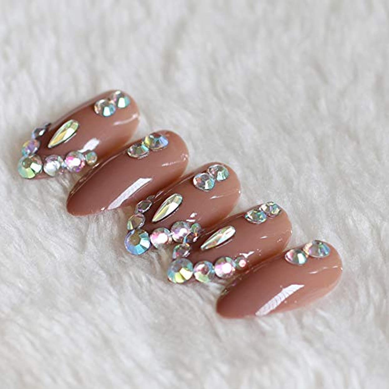 パンフレット治す奨励XUTXZKA 偽爪の薄いハイヒールブラウンダイヤモンドクリスタルで満たされた24個