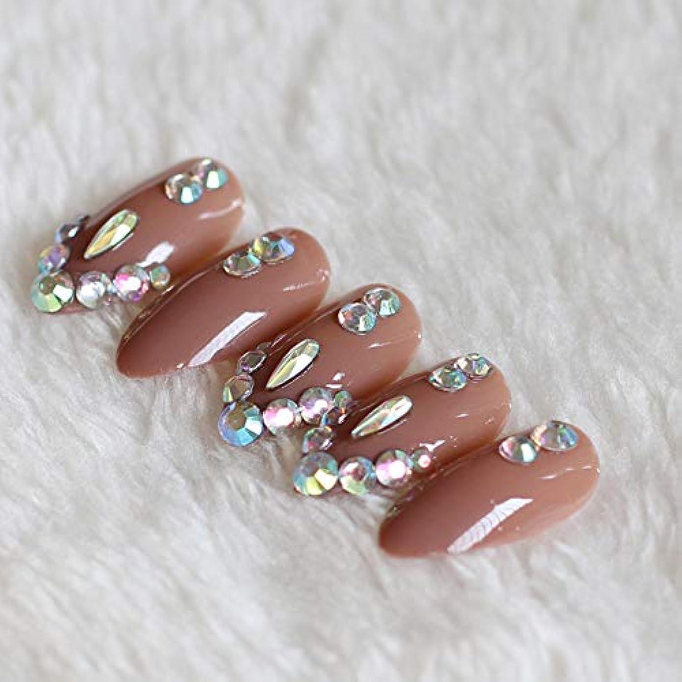 熱用語集まろやかなXUTXZKA 偽爪の薄いハイヒールブラウンダイヤモンドクリスタルで満たされた24個