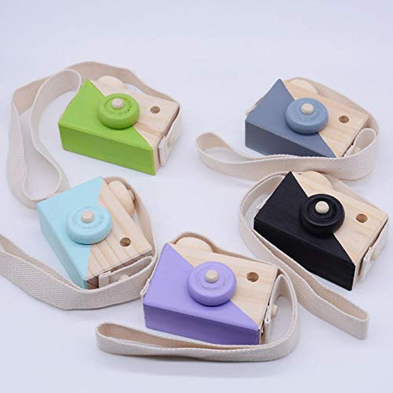 ライラック雑品衝突するミニかわいい木製カメラのおもちゃ安全なナチュラル玩具ベビーキッズファッション服アクセサリー玩具誕生日クリスマスホリデーギフト (緑)