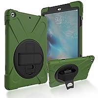 タブレット ケース iPad Air用 三層 ハイブリッド 耐衝撃性 ケース 360度回 転式 キック スタンド付き、 調節可能 ハンド ストラップ iPad Air アーミー グリーン