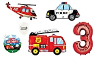 Ballooneyのレッド番号(1st-9th誕生日オプション) レスキューチームAmbulance Fire Truck Police First Respondersテーマ誕生日パーティーバルーンブーケ ホワイト 11147