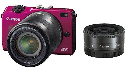 Canon ミラーレス一眼カメラ EOS M2 ダブルレンズキット (レッド) EF-M18-55mm F3.5-5.6 IS STM EF-M22mm F2 STM付属 EOSM2RE-WLK